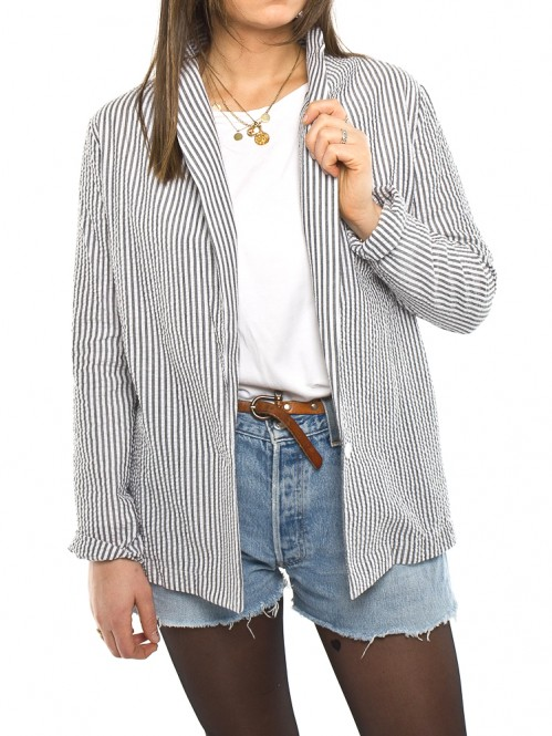 Tavia blazer stripe grey white
