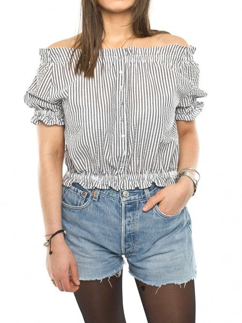 Thea blouse stripe grey white