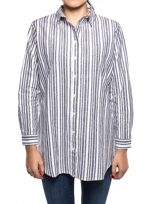 Marie stripe shirt white grey
