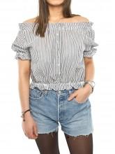 Thea blouse stripe grey white